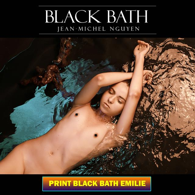Black Bath - Print Nude Beauty Poster - Emilie